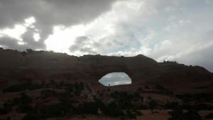 Wilson Arch under clouds